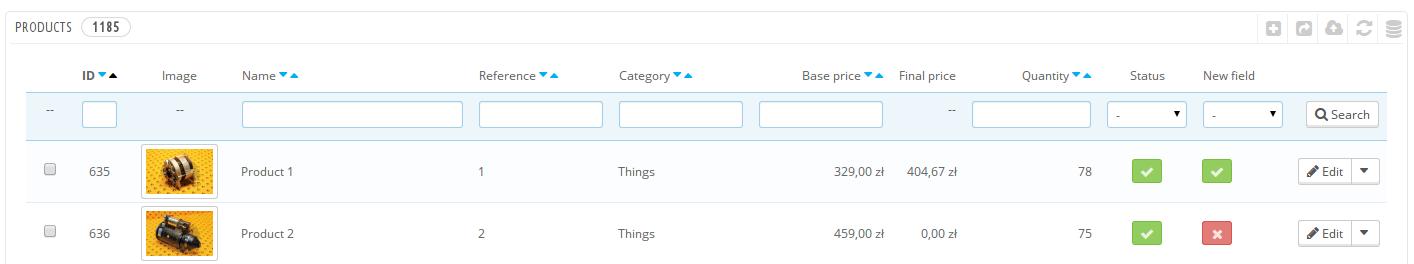[PrestaShop][1.6] Add clickable field on admin catalog list