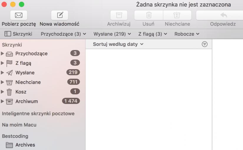 Potwierdzenie doręczenia w domyślnym kliencie poczty Mail.app na Mac OS X